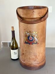 Antique English Leather Umbrella Cane Stand With Coat Of Arms England