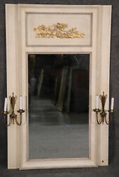 Large Figural Gilded And Antique Distressed Painted Trumeau Mirror With Sconces
