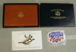 1997-w Jackie Robinson 50th Anniversary Legacy Set -5 Gold Coin/card/patch/pin