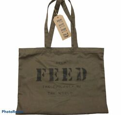 FEED 10 Olive Green Shopping Tote Bag Reuseable Cotton Minimalist Children NEW $29.99