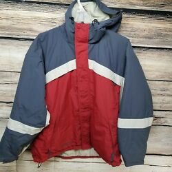 Columbia Mens Size Xl Hooded Insulated Winter Coat Great Red White Blue Vintage