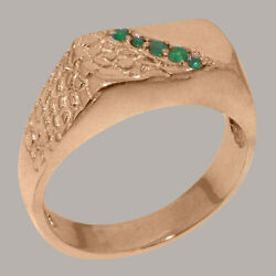18ct Rose Gold Natural Emerald Mens Band Ring - Sizes N To Z