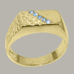 18ct Rose Gold Natural Blue Topaz Mens Band Ring - Sizes N To Z