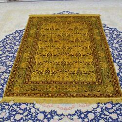 Yilong 4and039x6and039 Traditional Golden Carpet Sitting Room Hand Knotted Silk Rug 076b