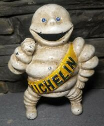 Vintage Cast Iron Michelin Man Coin Bank Advertising Tire Antique 6 Gas Oil