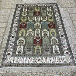 Yilong 4and039x6and039 Four Seasons Handwoven Silk Carpet Antistatic Living Room Rug H281b