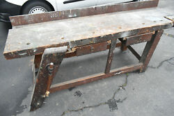 Antique Early 1900s Carpenters Cabinet Maker Wooden Work Bench Pick Up 17003