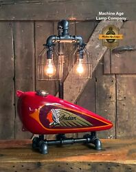 Steampunk Industrial Machine Age Lamp Antique Indian Scout Gas Tank Motorcycle