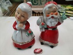 Rare Vtg Lefton Santa Claus And Mrs. Claus Salt And Pepper Shakers