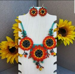 Mexican Handcrafted Necklace And Earrings Set Huichol Sunflowers Handpainted Bea