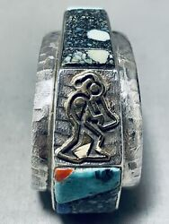 One Of The Best Small Wrist Vintage Hopi Turquoise Sterling Silver Bracelet