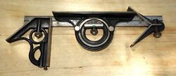 Vintage Union Tool Combo Square Set Head,protractor,centerfinder,12ruleandscribe