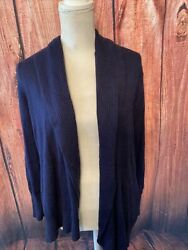 Coldwater Creek Womens 1x 18 Long Sleeve Navy Blue Sweater Cardigan Open Front
