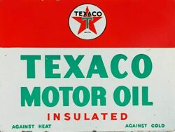 Texaco Motor Oil Insulated 16 Heavy Duty Usa Made Metal Gas Station Adv Sign