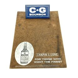 Vintage Chapin And Gore Bourbon Clip Board Candg Kentucky Straight Whiskey Ad Promo