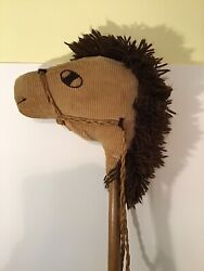 """Vintage Toy Hobby Horse On A Stick Corduroy Horse 39"""" Cool Piece"""