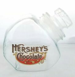 Vintage Hershey's Glass Canister Lid Jar Chocolate Emblem Candy Counter Top Shop