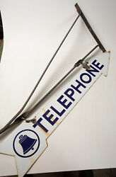 Bell System Telephone Arrow Sign W/bracket Advertising Sign Hse Double Sided