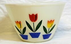 Fire King Oven Ware White Milk Glass Mixing Bowl Tulip Pattern 7.5 Excellent 1