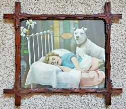 Victorian Adirondack Wood Leaf Large Frame With Lithograph On Guard