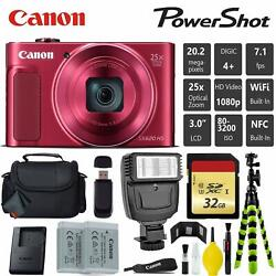 Canon Powershot Sx620 Hs Digital Point And Shoot Camera Red + Extra Battery +