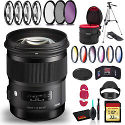 Sigma 50mm F/1.4 Dg Hsm Art Lens For Canon Ef +cleaning Kit Tripod 32gb Memory