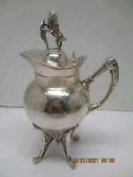1899 Footed Creamer/teapot Eastlake Style Lion Finial And Nymph Meriden B. Co.