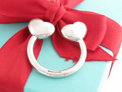 Auth And Co Silver Double Heart Hearts Keychain Key Chain Ring