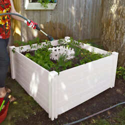 4' X 4' Composting Garden Bed White, Food Grade Bpa And Phthalate Free Vinyl