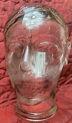 Vintage Clear See Through Glass Mannequin Textured Head / Wig Hat Store Display