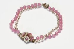 Miriam Haskell 1950andrsquos Pink Glass Beads Faux Pearl Flower Choker Necklace