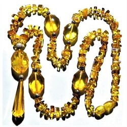 Vintage Amber Necklace Estate Natural Butterscotch Honey Edwardian Flapper Beads