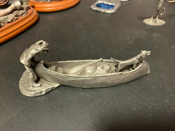 Trapper And Dog In Canoe Figurine Rawcliffe Pewter The Treck Downstream