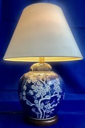 Vintage Chinese Blue And White Ginger Jar Style Lamp