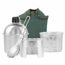 3pcs Cookware Set Aluminum Military Canteen Camping Hiking Cup Wood Stove Cover