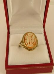 Vintage Hallmarked 3 Graces 9ct Gold Cameo Ring 4.5gr 2cm Sz O Hm1978 100aa
