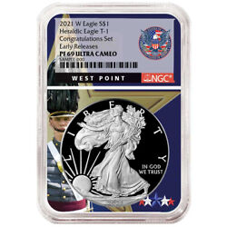 2021-w Proof 1 Type 1 American Silver Eagle Congratulations Set Ngc Pf69uc Er W