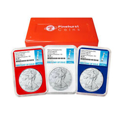 2021 P 1 American Silver Eagle 3pc. Set Ngc Ms70 Emergency Production Fdi Fir