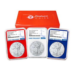 2021 P 1 American Silver Eagle 3pc. Set Ngc Ms70 Emergency Production Blue Er