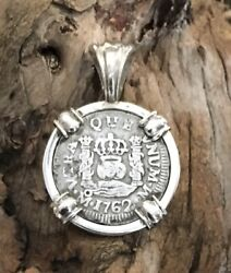 Pirate Coin Treasure Piece Of Eight Spanish Authentic 1/2 Reale Pendant Set Ss