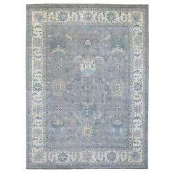 8'9x11'9 Hand Knotted Ziegler Mahal Glimmery Wool Gray Oriental Rug G67382