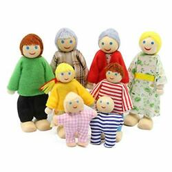 Wagoog Wooden Family Dolls Set Of 8 Small People Figures For Dolls House