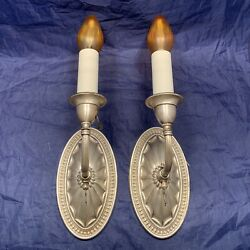 Quality Antique Pair Nickel Plated Gas Wall Sconces Converted To Electric 120a