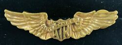 Vtg 1920's 30's Air Adventures Aviator Pin Pilot Wings Air Show Airline Signed