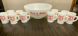 Vintage Christmas Tom And Jerry Milk Glass Eggnog Punch Bowl Set With 10 Cups