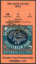 Pat Day Signed 1999 Breeders Cup Ticket Classic Winner Cat Thief Gulfstream Park