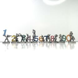 Very Rare Hudson Pewter Disney Birthday Figures W/ Colored Numbers Complete Set