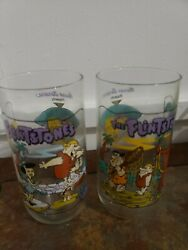 2 Vintag1991 The Flintstones Hardee's Glasses The First 30 Years  1964 Glasses