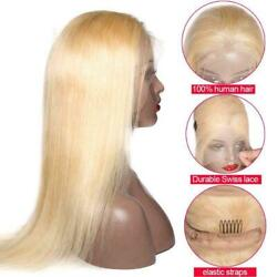 12a Silky Straight Russian Blonde 613 Glueless Full Lace Human Hair Wig Fastship