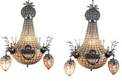 French Roccoco Chandelier Decorated With Deerhead In Silver Frame - A Pair